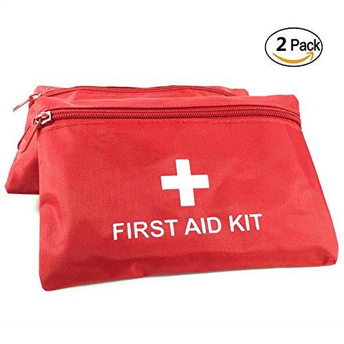 Lezed Kit di Pronto Soccorso Vuoto Borsa Medica Portatile Impermeabile Nylon Borsa First Aid (2 Pezzi, Rosso)