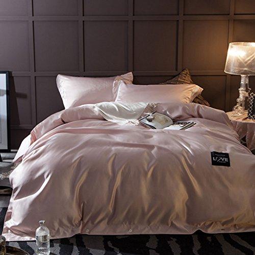 LongYu Quilt Seide Mode Heimtextilien Bettfutter Vierteiliges Set Gewaschen Satin Stickerei Bettwäsche Quilt 4 Sätze (Color : J, Size : 200*230CM) (8 Stück-bett-satz)
