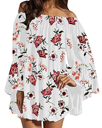 ZANZEA Damen Langarm Schulterfrei Kleid Chiffon Blumen Oversize Oberteil Mini Kleider 06-weiß Medium