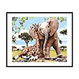 Yasheep 5D Rhinestone Diamond Embroidery Painting Full Drill DIY House Painting Cross Stitch Kit for Home Wall Decor As Gift- Elephant Giraffe -30 * 35cm
