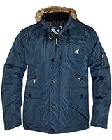New Mens Kangol Designer Parka Jacket Synthetische Pelz-Ordnungs-Hood warmen Wintermantel