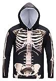 Pizoff Unisex Hip Hop Cosplay Sweatshirt Maskerade Kapuzenpullover mit Bunt 3D Knochen Skelett Digital Print - Ag002-11 - Large