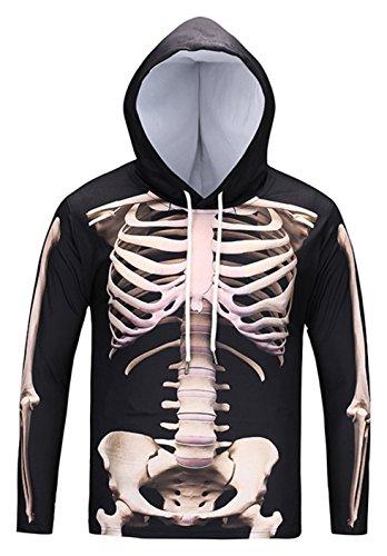 p cosplay Sweatshirt Maskerade Kapuzenpullover mit Bunt 3D Knochen Skelett Digital Print (Halloween Skelett Sweatshirt)
