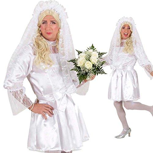 Braut Kostüm Drag Queen Kleid weiß XL 54/56 Männer Brautkleid Herren Kleid Junggesellenabschied...