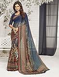 Ankit Fashions Navy Blue Printed Silk Georgette Sari