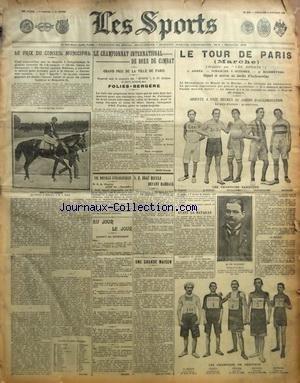 SPORTS (LES) [No 1040] du 06/10/1907 - LA BOXE - LE CHAMPIONNAT INTERNATIONAL DE BOXE DE COMBAT - LE TOUR DE PARIS A LA MARCHE - EDGE RECULE DEVANT DARRACQ - par Collectif
