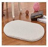 Badematte, rutschfest, oval Shaggy Soft Mikrofaser Fußmatten Teppiche Dick Farbe Schlafzimmer Matte Fußmatte, Polyester, weiß, 50 x 80 cm