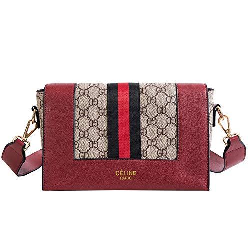 LFGCL Beutel womenOld Blumentasche Schulter umschlungene kleine quadratische Tasche breite PU-Lederhandtasche, rot
