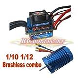 Hobbypower 60A ESC Brushless Speed Controller + Hobbypower 9T 4400KV BL Motor for 1/10 1/12 RC Car (9T 4400KV Motor&60A ESC)