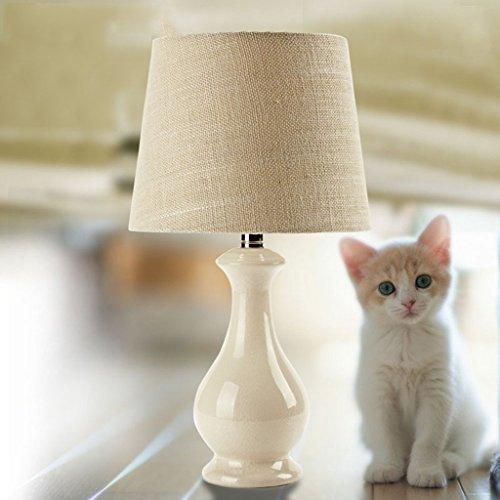 MOMO Lámpara de cabecera de la lámpara de Mesa de cerámica, lámpara de Mesa Simple Moderna Blanca del Dormitorio de la Sala de Estar, 25 * 25 * 47Cm,* 1 *