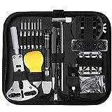 Ueznirn - Juego de herramientas para relojero (153 piezas, tamaño profesional, abridor de cajas, destornillador, pulsera, cambio de batería, reloj, herramientas)