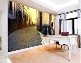 XLi-You 3D Papel pintado Fresco 3D Personalizado Papel Tapiz Mural Adhesivo De Papel De Pared Pequeña Ciudad Rural Muro Del Callejón De Los Murales En 3D Papel Tapiz Wallpaper Mural 350cmX270cm