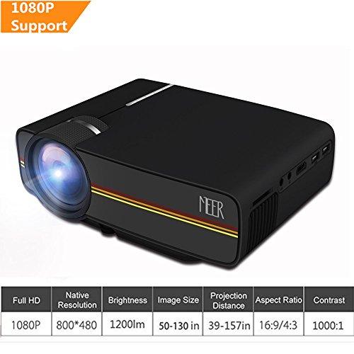 Meer LED Heimkino Beamer, 1200 Lumen 1080P HD Projektor mit VGA HDMI AV USB TF Karte Schnittstelle, Verbindung mit TV-Box / Spielkonsole / iPhone(iPad) / Laptop / MacBook / TV mit HDMI Kabel, Schwarz (Box Direct Av)