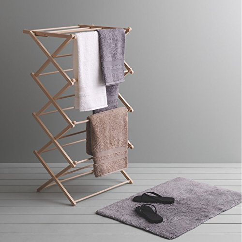 Image of JVL Traditional Wooden Folding Clothes Airer