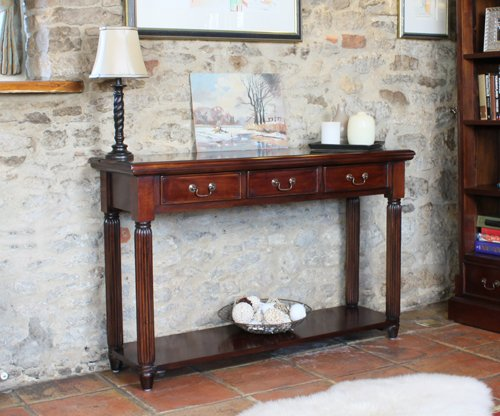 Oak Hall-möbel (Oak Furniture House La Roque Mahagoni Dark Möbel Konsole mit Schubladen)