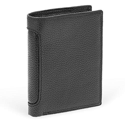 BLUZELLE Cartera de Cuero Auténtico para Hombre - con RFID Protección, Compartimentos para Monedas y Tarjetas - Billetero Compacto, Color:Lichi Negro
