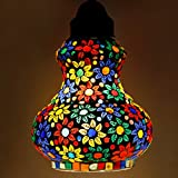 #6: Earthenmetal handcrafted mosaic decorated flower design glass hanging Lamp