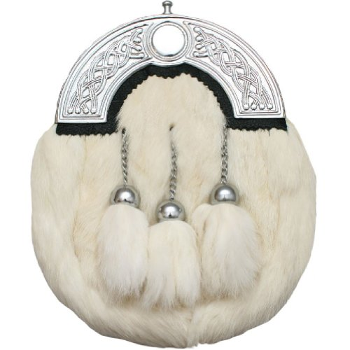 Preisvergleich Produktbild Kiltsporran aus Kaninchenfell - mit keltischem Zwiesel - Weiß
