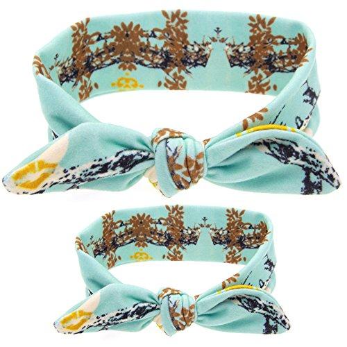 Cinta para el bebé,Chickwin 2 piezas DIY Floral conejo lindo orejeras cinta de tela elástica para la madre y el bebé (Piedra de pino)