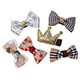 #7: Phenovo 6Pcs Mixed Ribbon Bow Brown Polyester Hair Clips For Girls