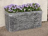 Pflanztröge ROCKS aus Fiberglas wie orig. Naturstein in grau, Pflanzkübel, Pflanzgefäße, Pflanztopf (L80x B30x H40cm, Steingrau)