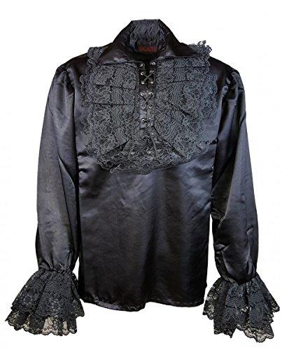 Dark Dreams Gothic Mittelalter LARP Vampir Pirat Rüschen Hemd Sabdiel, Farbe:schwarz, (Kostüme Gothic Vampir)