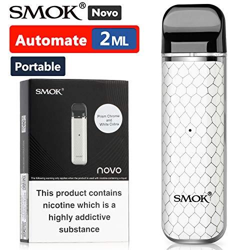 Offiziell SMOK Novo E Zigarette Starter Set, Open Pod System 2x 2ml Nachfüllbare Schoten Verdampfer, Tragbare Vape mit 450mAh Akku, Aktivieren Sie beim Einatmen, Ohne liquid Ohne Nikotin - Weiß