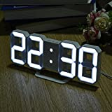 Pawaca LED Digital Alarm Clock with 3 Adjustable Brightness Levels - Digital LED Desk Clock / Wall Clock / Alarm Clock