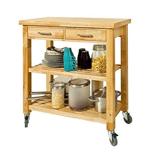 SoBuy FKW24-N Chariot de Cuisine en bois d'hévéa Kitchen Trolley Desserte roulante avec deux étagères -L80xP40xH90cm