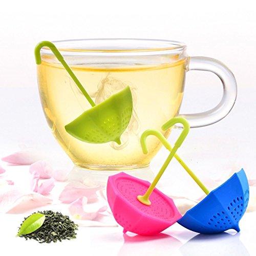 Ruesious Tea Bag 3pezzi colorato genuino Premium silicone ombrello riutilizzabile infusore tè colino set di inclinazione per tè in foglie e erbe teas-great regalo per gli amanti del tè (C)