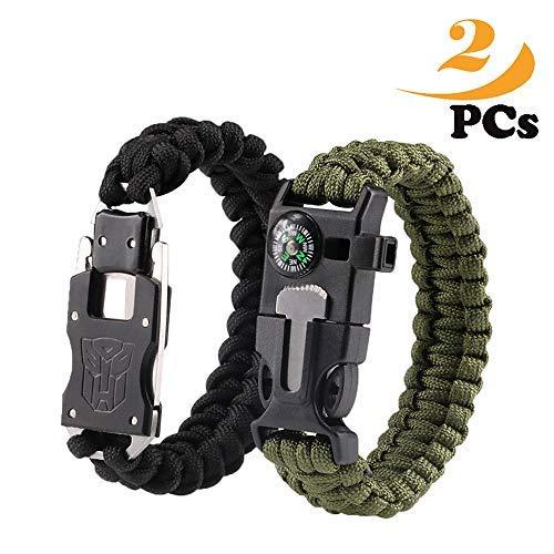 BASON Paracord Bracelet Kit Lot de 2 pour la Survie en Plein air, Anastasia 9 Pouces Survival Gear Kit avec Boussole intégrée, Allume-feu, Urgence Couteau & Whistle.