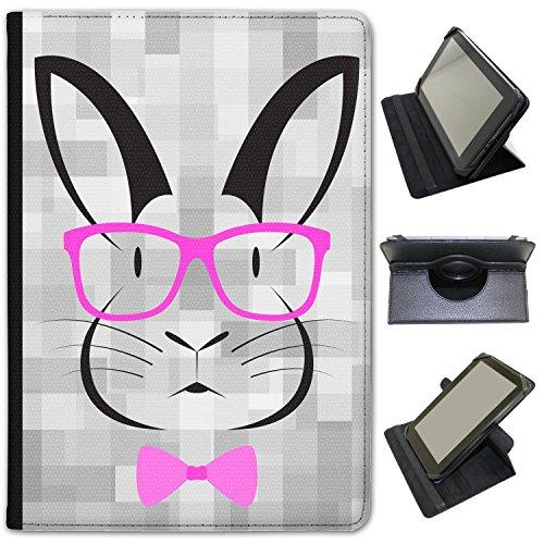 Hipster animali con papillon e occhiali custodia a libro in finta pelle con funzione di supporto per tablet Hipstreet nero Hipster Rabbit Pink Glasses Hipstreet Pilot 10 inch