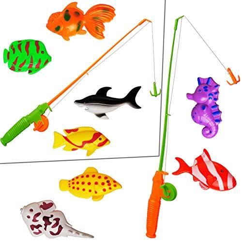 alles-meine.de GmbH 2 * 5 TLG. Set _ großes Magnet - Angelspiel - WASSERFEST -  mit 4 großen Fischen & Tieren  - drehbare + magnetische Angel - für Kinder - Angeln - Badewanne ..