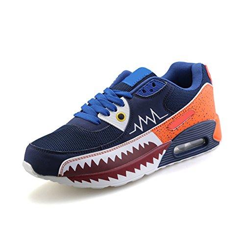 [Neues Muster] Die Hai Mund Riss PU Luft Anstieg Sportliebhaber Luft laufende Schuhe des Mens(Blau,41.5EU)