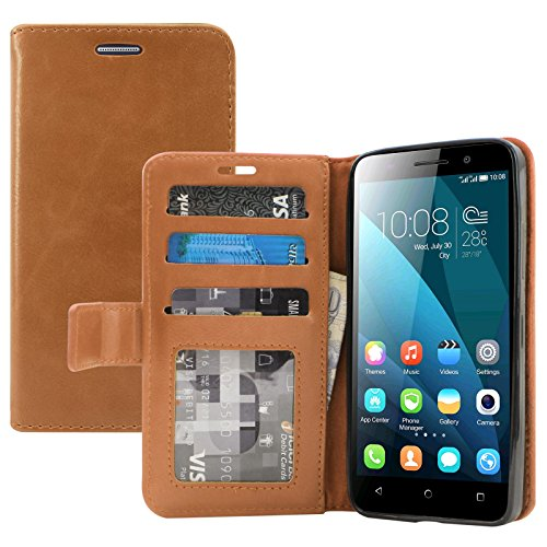 Huawei Honor 4X Cover, DMG Premium Leather Magnetic Wallet Case with Detachable Back Cover Case for Huawei Honor 4X (Brown)