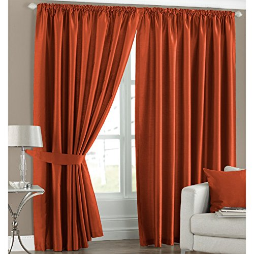 faux silk light reducing thermal burnt orange 46x54 pencil pleat lined ready made curtains with tiebacks