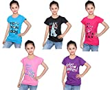 #4: IndiWeaves Girls Cotton Half Sleeves Round Neck Printed T-Shirts (Pack of 5) Print May Vary