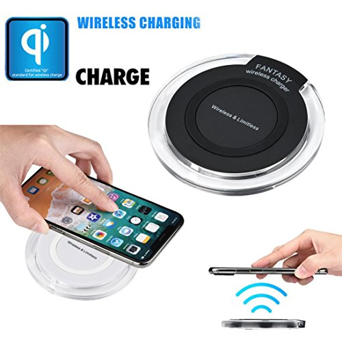 TPulling White Black Mini Round Apple Wireless Charger Portable Mini Acrylic QI Wireless Charger Charging Pad Mat For Iphone 8/8 Plus/X