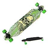 tomasa Unisex Outdoor Komplettboard Skateboard Cruiser Longboard Galaxy Freeride Board Hohe Geschwindigkeit Brett (Grüne Schädel)