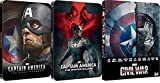 Captain America: 1+2+3 The First Avenger 3D and the winter soilder and Civil War 3D Most sort after steelbook Includes 2D Version-2015 UK Exclusive Edition Steelbook Blu-ray REGION FREE