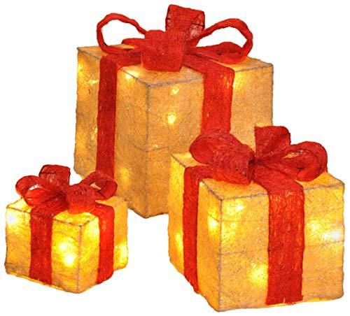 Bambelaa! Led Decorazione Light Gift Boxes - Set di 3 incl. Funzione Timer - Decorazione natalizia Decorazione natalizia Decorazione di Natale Illuminazione (Giallo)