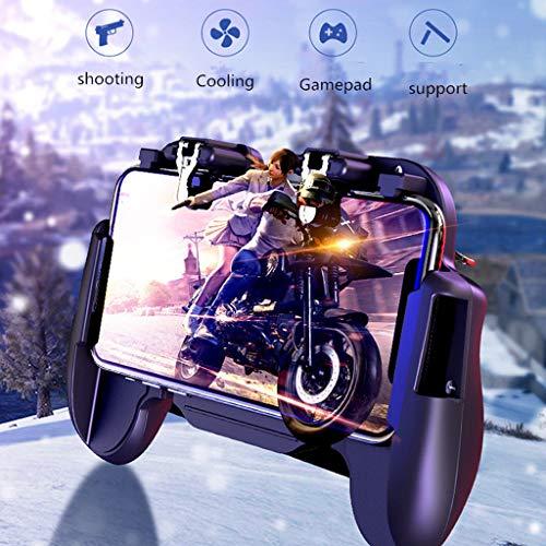 Game-Controller, Mobile Game-Controller für 4-in-1-Gamepad Schießen und Zielen Trigger Telefon Kühlung Essen Huhn Artefakt lkoezi schwarz (Balance Huhn)