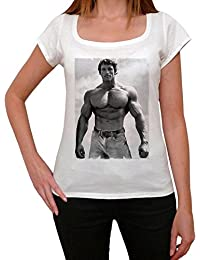 Arnold Schwarzenegger, tee shirt femme, imprimé célébrité,Blanc, t shirt femme,cadeau