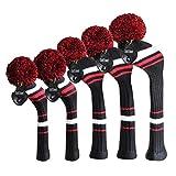 Meili Multi-Styler Knit Golf Head Cover Set di 5 per Driver Wood, Fairway Wood*2 e Hybrid*2, Molti Colori, per Uomo/Donna Golfisti, Black White Red Stripes