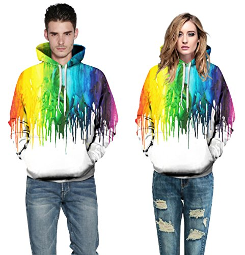 Leapparel Unisex Bunte 3D Pullover Hoodie Sweatshirt für Männer und Frauen mit großen Tasche Cool Graphic Prints Melting Paint-White
