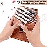 zhiman8 17 tasti Kalimba pollice piano portatile finger finger piano solido corpo in mogano con istruzioni e messa a punto martello, fondina borsa