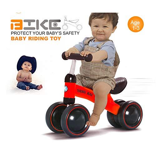 ZWX Kinder Laufrad,Fahrrad ohne Pedale 4 Räder Balance Bike für Kinder von 1-3 Jahre, Push Bike für Jungen und Mädchen,Red