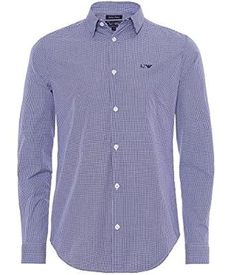 Armani Jeans Men's Slim Fit Check Shirt Light Blue
