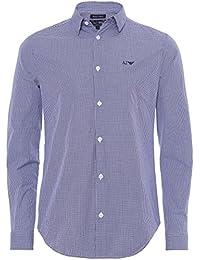 Armani Jeans Men's Chemise Slim Fit carreaux Bleu Clair