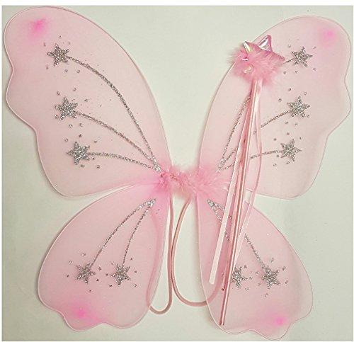 ncess Dressing Up Set. Kommt mit großen Pink Star Glitzer Flügel und Pink Star Zauberstab (verschiedene Designs)–Fancy Kleid, Halloween, Geburtstag, Engel Outfit (Angel Halloween-outfits)